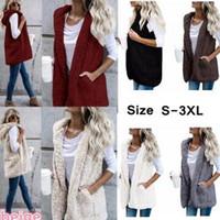 Wholesale hooded sleeveless jacket woman online - Women Sherpa Hooded vest Coat girls Winter Jacket Hoodie Warm waistcoat sleeveless Outwear Zip Up Jacket Vests home clothing AAA1550