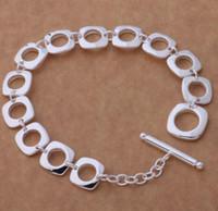 pulseira círculo quadrado venda por atacado-925 banhado a prata Pulseira moda europeus e americanos Square-círculo Pulseira t WL959