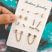 conjunto de joyas en forma de estrella al por mayor-8 Set / Par Cute Horse Eye Star Pendientes en forma de corazón para mujer Mosaico Pendientes de aleación de cristal Stud Party Jewelry