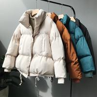 jaqueta para mulheres algodão azul cor venda por atacado-Alta qualidade Engrossar cor sólida mulheres básicas agasalho 2019 forro de algodão solto branco marfim Khaki azul jaqueta preta T191018