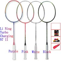 Wholesale LI NING TURBO CHARGING N7 II Badminton national team Racquet High elasticity carbon racket Line completion