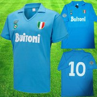 futbol vintage al por mayor-1997 1998 Napoli Retro Soccer Jerseys 87 88 Coppa Italia SSC Napoli Maradona 10 Vintage Calcio Napoli kits Classic Vintage Napolitano Footba