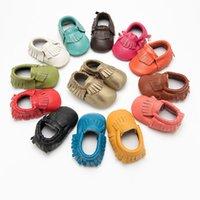 детская обувь для ходьбы оптовых-Натуральная кожа детские мокасины коровья кожа кисточки обувь для ходьбы противоскользящая мягкая подошва 14 цветов младенческая малыш первые ходунки M868