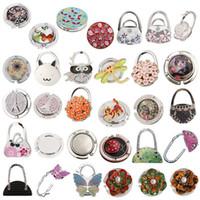 Wholesale folding bag purse hook hangers resale online - Round Folding Bag Handbag Purse Hook Hanger Holder Plum Blossom Butterfly Pattern Wtih Crystal Rhinestone Decoration Table Desk