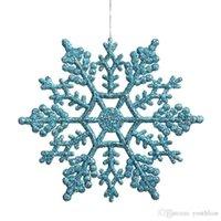 Wholesale turquoise decor resale online - Christmas Ornaments Turquoise Glitter Snowflake Outdoor Hanging Decoration Christmas Party Decoration Home Decor Multi Color a set