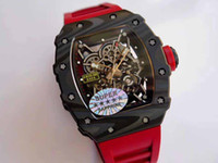 relojes de hombre rojo de alta calidad al por mayor-Alta calidad para hombre excelente actualización reloj 035-02 Forge carbono titanio caso botón rojo cronógrafo automático hombres relojes de pulsera deportivos