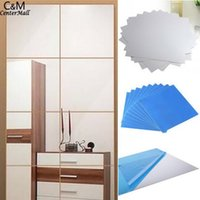 Wholesale wallpaper mirrored wall resale online - Tile DIY Stickers Mosaic Decal Mirror Square Decorations wall paper D wallpaper home decor