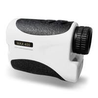 ingrosso perni laser-Freeshipping 400m bianco portatile Golf telemetro laser con sensore pin telemetro caccia a distanza monoculare Laser Distance Meter