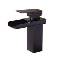 bronz musluk banyo deliği toptan satış-Şelale Banyo Bataryası Tek Kolu Tek Delik Güverte Dağı Lavabo Yağ-Ovuşturdu Bronz