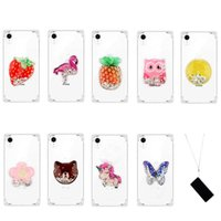 Wholesale soft case strawberry online – custom Shockproof Quicksand Soft TPU Case For Iphone XR XS MAX X Unicorn Strawberry Owl Butterfly Butterfly Bling Liquid Cover Luxury