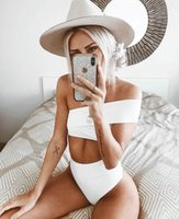 Wholesale new cloth woman online - Women Two Piece Outfits Summer New Explosion Women s Split Swimwear Pure colour Special Cloth Irregular Single Shoulder High Waist Bikini