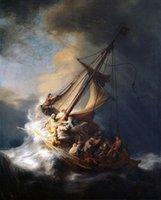 ingrosso pittura a olio d'onda-Rembrandt di alta qualità dipinto a mano HD pittura a olio stampa - Cristo sulla barca a vela con enormi onde dell'oceano - tempesta multi dimensioni p142