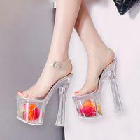 sandálias de salto alto venda por atacado-18 cm Ultra high heels floral cristal transparente plataforma sandálias noiva sapatos de grife tamanho 34 a 39