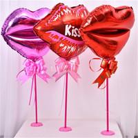 bar filmleri toptan satış-Dudaklar Sevgililer Günü Masa Centerpieces Balon Alüminyum Filmi Renkli Doğum Günü Restoran Bar Düğün Süslemeleri Moda Sıcak Satış 1 2mxD1