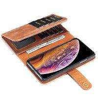 ingrosso caso di carta pieghevole-vendita all'ingrosso Custodia a portafoglio in vera pelle di lusso 3 pieghe per Apple Iphone X XS Max XR 6S 7 8 Plus Tasca porta carte di credito rimovibile posteriore
