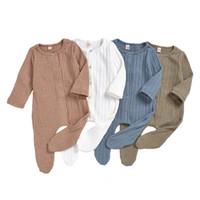 Wholesale knitting baby clothes boys resale online - Infant Baby Solid Jumpsuit Striped Knit Onesies Kids Designes Clothes Boys Plaid Pocket Cotton Jumpsuit Vêtement Bébé Toddler Outfits