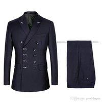 blazers masculinos azul marinho venda por atacado-Mais recente design azul marinho homens ternos para casamento smoking do noivo trespassado slin fit noivo blazers 2 peça s (jaqueta + calça + gravata) 1140