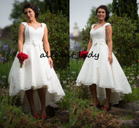 Wholesale short sleeve wedding dress size 16 for sale - High Low Short Beach Wedding Dresses Vintage Retro Cap Sleeve Full lace Sweetheart Western Country Boot Cowgirl Reception Bridal Gown