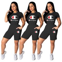 Wholesale best women s clothing online - Women Champions Letter Tracksuits Short Sleeve T Shirt Shorts Summer Outfits Piece Sportswear Jogger Clothes Suits BEST S XL A32202