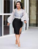 dessus à pois, plus la taille achat en gros de-Chemisier femme sexy mode casual chemise à pois, organza perspective tops, plus la taille