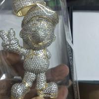 cadenas de diamantes 14k al por mayor-14K Iced Out Diamond Collar Colgante Juego de Dibujos Animados Bling Micro Pave Cubic Zirconia Diamantes Simulados 10mm 18 pulgadas Cadena Cubana