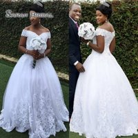 Wholesale sexy summer wedding dresses for sale - South African A Line Lace Wedding Dresses Off the shoulder Appliques Sequins Bridal Gowns Arabic Custom Made Wedding Gowns