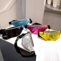 Wholesale glitter shopping bags online - Woman Laser Sequins Waist Pack Fashion Lady Glitter Chest Belt Bag Creative Travel Shopping Sport Hip Purse LJJT278