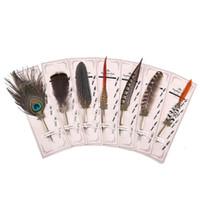 stylos à plumes achat en gros de-Plume Vintage Metal Pen Nibbed Dip écriture d'encre Quill Pen Set pour l'école Papeterie Cadeaux Art Fournitures