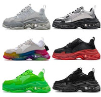 Wholesale women s running shoes for sale - Group buy 2019 men women Triple S Trainers for Men sneakers Washed vintage effect Online yakuda Men s Running shoes for men women Training Sneakers