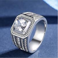 cadeaux de platine pour hommes achat en gros de-Mens luxe anneau 925 plaqué argent CZ diamant hommes anneaux en or blanc cadeau de mariage bijoux en platine