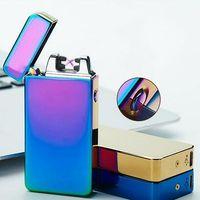 mezcla de encendedores al por mayor-2019 Hot Dual Arc Electronic Lighter 10 colores a prueba de viento Ultra-delgado Metal Pulse USB recargable Electric Arc Double Fire Lighter