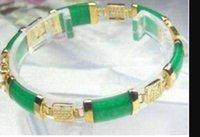 braceletes de pulseira de 14k venda por atacado-Pulseira Feito À Mão Impressionante VERDE JADE Jóias pulseira 7.5