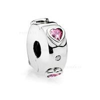 модные розовые бусы оптовых-Новый подлинный S925 стерлингового серебра шарик взрыв любви клип, фантазии фуксия розовый прозрачный кристалл Шарм Fit Pandora браслеты DIY ювелирные изделия