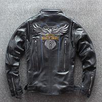 carrinho da raça da motocicleta venda por atacado-2019 HARLEY-DIEREL jaqueta de motocross com padrão de águia stand collar preto homens jaquetas de couro genuíno ternos de corrida