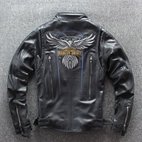Wholesale leather jacket racing motorcycles resale online - 2019 HARLEY DIEREL motorcycle jacket with eagle pattern stand collar black men genuine leather jackets racing suits