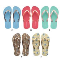 Wholesale starfish flip flops for sale - Group buy Women Ocean Style Beach Flip Flops Starfish Sailboat Macaron Color Summer Flat Sandals Non Slip Casual Slippers Shoes