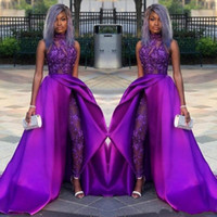Wholesale party gown images resale online - 2020 Prom Jumpsuits Dresses With Detachable Train High Neck Lace Appliqued Bead Evening Gowns Luxury African Party Women Pant Suits