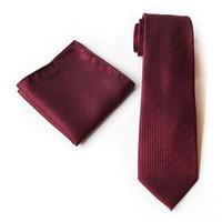 gravata de seda vermelha alaranjada venda por atacado-20 Cores Laranja Azul Marinho Vermelho Rosa Xadrez 100% De Seda Do Casamento Jacquard Tecido Gravata Dos Homens Gravata Bolso Quadrado Lenço Conjunto Terno