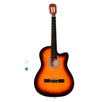 Wholesale fret acoustic guitar for sale - Wonderful Inch Cutaway Frets Acoustic Guitars with Guitar Semi closed Diecast Musical Instruments Plectrum Sunset