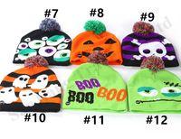 Wholesale crochet hat reindeer resale online - 2019 LED Christmas Knitted Hats Adults Kids Pumpkin Skull Snowman Reindeer Elk Festival Light Caps with Ball Halloween Knit Cap Gifts B82104