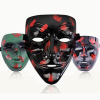 styles de maquillage de fête achat en gros de-Masque noir V Party Style de camouflage Fantôme V Revanche Ful Masque Halloween Maquillage balle cosplay costume TTA1972-4