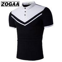 ingrosso magliette bianche da golf-FBECDG Uomo T-shirt da golf manica corta da uomo Bussiness Casual Nero Bianco T-shirt da uomo in cotone da golf di alta qualità T-shirt