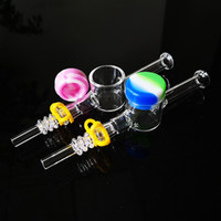 Wholesale glass nail quartz nector for sale - Group buy Glass Straw Nector Collector Kit Dab Straw NC Kit With mm mm Quartz Nail Tip Silicone Jar Keck Clip Smoking Glass Pipe Mini Bong Oil Rig