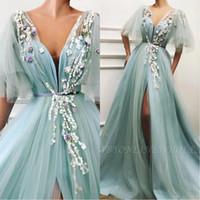vestidos de novia sabio al por mayor-2020 Vestidos Baile de Sage cuello en V de Split lateral una línea de tul por encargo de los vestidos de noche más el tamaño de vestido de novia Partido BC2579