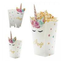 ingrosso festa di compleanno trattare i sacchetti-Arcobaleno Unicorno Popcorn Treat Box 12 pz / lotto Carta Candy Sanck Borse Unicorno Modello Sacchetti Regalo Festa di Nozze Compleanno Decor Favore AAA1708