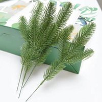 Wholesale pine tree flower for sale - Group buy 50pcs Artificial Pine Tree Branches Plastic Pine Leaves for Christmas Party Decoration Faux Foliage Fake Flower DIY Craft Wreath