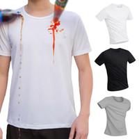 camiseta à prova d'água venda por atacado-Moda Masculina Casual O Pescoço Manga Curta Impermeável Anti-incrustante T-Shirt Respirável Sólida