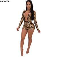 7c2aeb83211 new women long sleeve mesh see though sequins leaf gold deep v-neck sexy  skinny shorts jumpsuits night club romper playsuit 3579