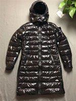 ingrosso stili di giacca lunga delle signore-Cappotto di marca delle donne lungo spessore autunno giù giacca di marca invernale con cappuccio per Lady Fashion Style piega abbigliamento donna angosciata