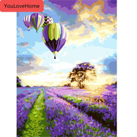 Wholesale oil painting lavender wall art for sale - Group buy Hot Air Balloon Pictures By Numbers Frameless Diy On Canvas Wall Lavender Pictures Wall Art Home Decoration Landscape Paint Number Kits